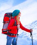 Happy girl palying ski
