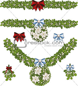 Clip art set of Christmas mistletoe decorative garlands