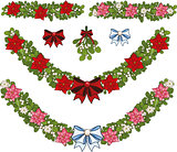 Clip art set of Christmas mistletoe decorative garlands