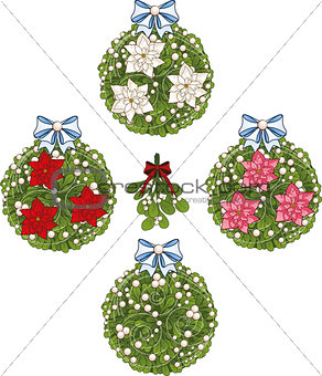 Clip art set of Christmas mistletoe decorative glob elements