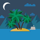 Summer landscape in flat style at night