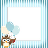 Owl holding balloons in a baby blue frame