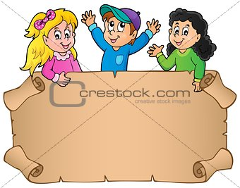 Blank parchment with happy kids
