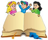 Open book with happy kids