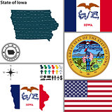 Map of state Iowa, USA