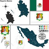 Map of Nayarit, Mexico