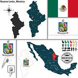 Map of Nuevo Leon, Mexico