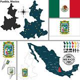 Map of Puebla, Mexico