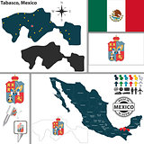 Map of Tabasco, Mexico