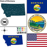 Map of state Montana, USA