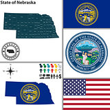 Map of state Nebraska, USA