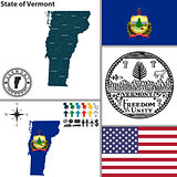 Map of state Vermont, USA