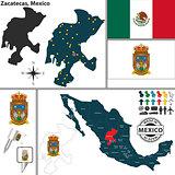Map of Zacatecas, Mexico