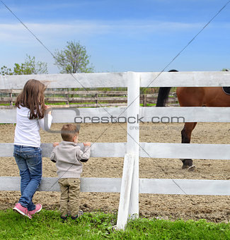 Pre-teen girl and Baby boy on the a white picket fence beside th