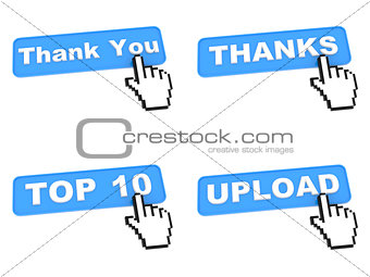 Four Blue Web Buttons with Hand Cursor.