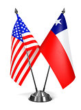 USA and Chile - Miniature Flags.