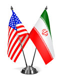 USA and Iran - Miniature Flags.
