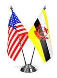 USA and Brunei - Miniature Flags.