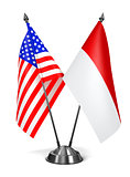 USA and Indonesia - Miniature Flags.