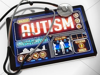 Autism on the Display of Medical Tablet.