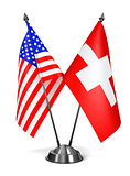 USA and Switzerland - Miniature Flags.