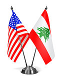 USA and Lebanon - Miniature Flags.