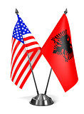 USA and Albania - Miniature Flags.