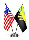 USA and Donetsk - Miniature Flags.