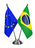 EU and Brazil - Miniature Flags.