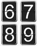 Digits 6, 7, 8, 9 on Mechanical Scoreboard.