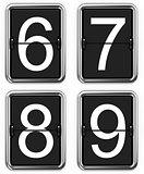 Digits 6, 7, 8, 9 on Mechanical Scoreboard.