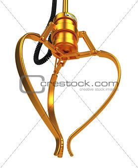 Closed Golden Robotic Claw.