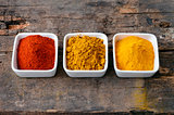 Hot red chili powder, curry and turmeric powder