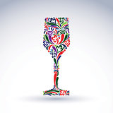 Fantasy decoration, art design goblet with bright flower-pattern