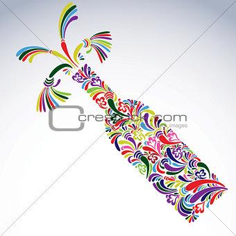 Celebration theme art symbol, stylish alcohol bottle with flower