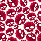 Red skulls seamless pattern, geometric contemporary style repeat