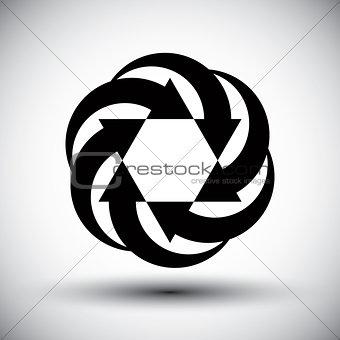 Six arrows loop conceptual icon, abstract new idea vector symbol