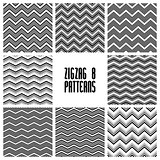 Zig zag black and white geometric seamless patterns set, vector