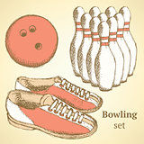 Sketch bowling set in vintage style