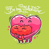 Hugging Valentine Hearts
