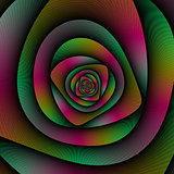 Spiral Labyrinth in Green Pink and Purple