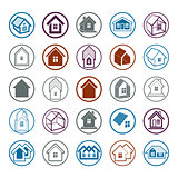 Different houses icons for use in graphic design, set of mansion