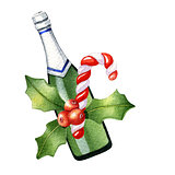Watercolor Christmas composition with champagne, candy canes and