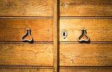 detail of old wood door with lock