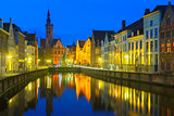 Jan Van Eyck Square and Canal Spiegel in Bruges, Belgium