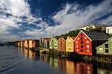 Scandinavian houses on the water, Trondheim, Norway