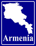 silhouette map of Armenia