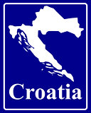 silhouette map of Croatia