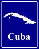 silhouette map of Cuba