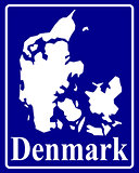 silhouette map of Denmark